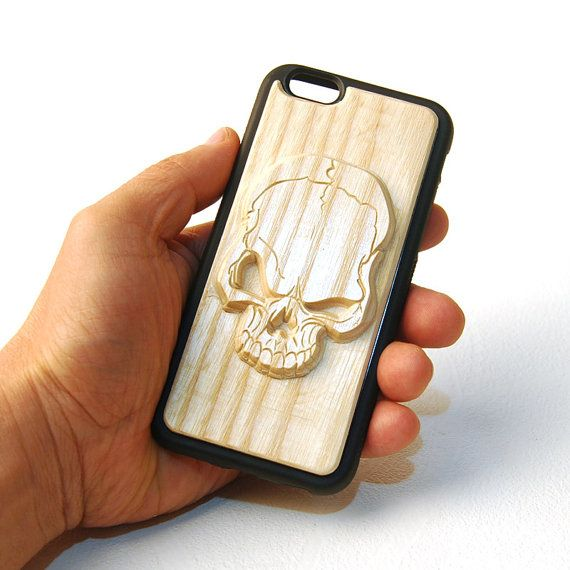 Carved Wood Phone Case  Big Skull by mozzin on Etsy