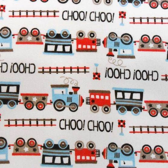 Snuggle flannel fabric choo choo train at jo ann fabric for Fabric with trains pattern