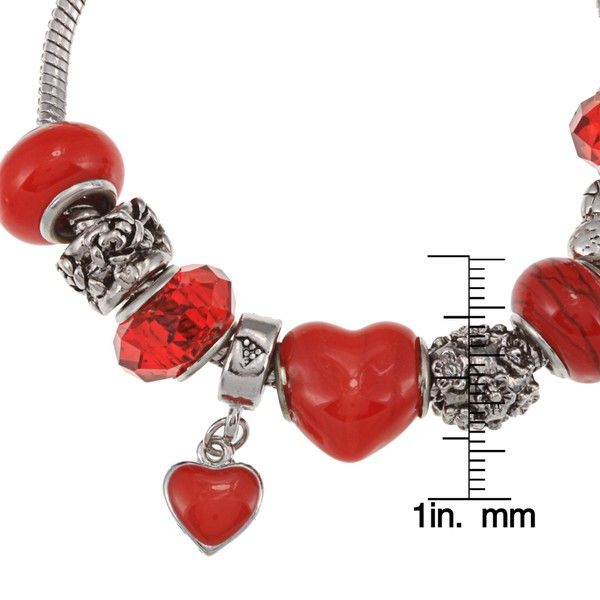 La Preciosa Silverplated Red Glass Bead and Red Enamel Charm Bracelet - Overstock™ Shopping - Top Rated La Preciosa Crystal, Glass & Bead Bracelets