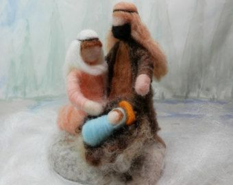 Needle felted Nativity scene, Waldorf Christmas Nativity, wool roving figures, Mary, Joseph, baby Jesus, ornament, made to order