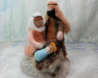 Needle felted Nativity scene, Waldorf Christmas Nativity, wool roving figures, Mary, Joseph, baby Jesus, ornament, made to order