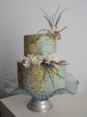 Vintage map cake! for a traveler themed wedding