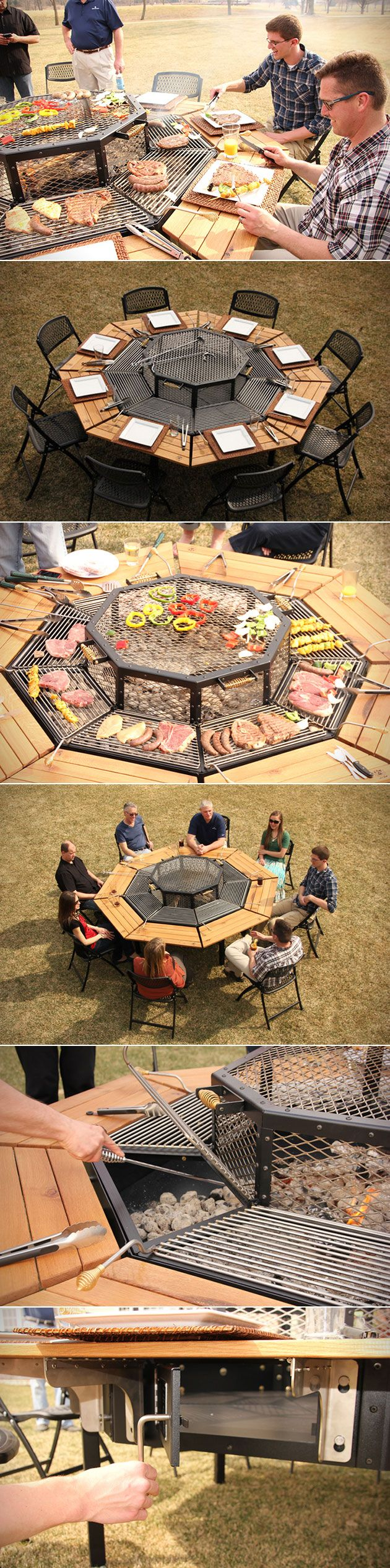 Nothing says summer quite like crowding around the barbecue with friends and family, and the Jag Grill looks to bring on a whole new meaning to the idea.  Shaped like a giant octagon, the Jag is like a communal grilling station. Not only is there a massive grilling area in the center, but there are also eight different individual grilling stations for all your guests. In addition to the private grilling areas, there's also a wooden table-top to enjoy your barbecued meats and veggies.