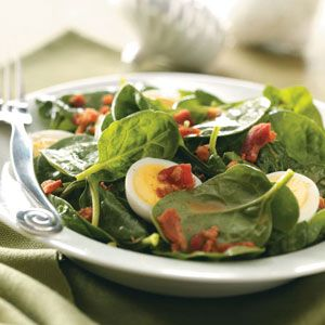 Spinach Salad: Bacon Eggs, Olives Oil, Red Wine, Salad Recipe, Emily Spinach, Spinach Salads, Spinach Salad Dresses, Curries, Spinachsalad