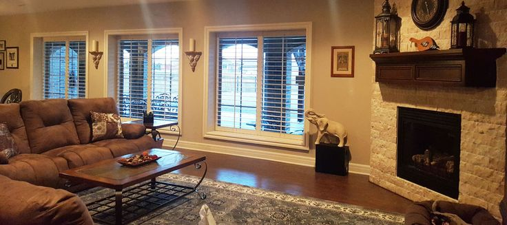 Huge great room with our custom plantation shutters. Plantation shutters are easy to care for, pet and kid friendly. Check out our gallery of different styles, shapes and louver sizes.