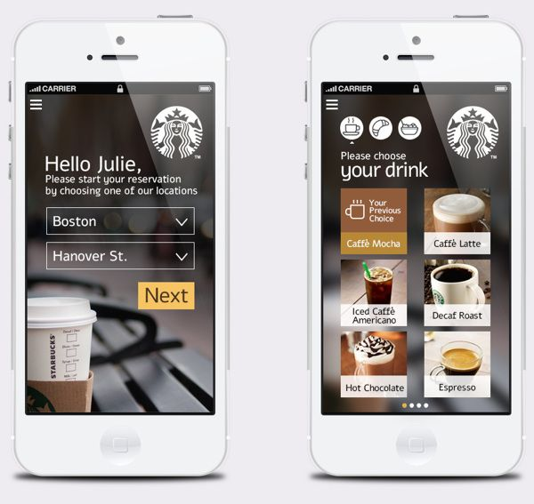 Starbucks Corporation /// App for pay & collect later by Shlomi Zigart - zigartUX, via Behance