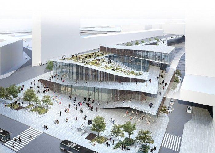 """Saint-Denis Paris, France Main train station of the """"Grand Paris"""", shops, multimedia library, business center"""
