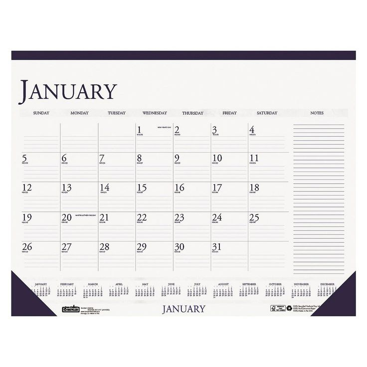 House of Doolittle Two-Color Monthly Desk Pad Calendar w/L Notes Section, 22 x 17, 2016, White/Blue