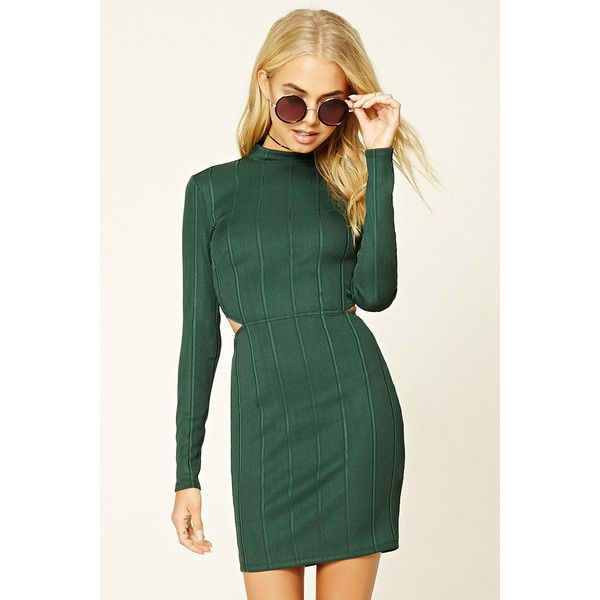 Forever21 Contemporary Bodycon Dress ($18) ❤ liked on Polyvore featuring dresses, hunter green, long-sleeve maxi dress, cutout bodycon dresses, green cocktail dress, hunter green dress and ribbed bodycon dress