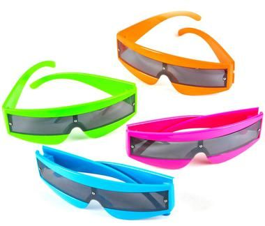 Brighten your futuristic view with these neon glasses! Glasses come in assorted colors, our choice please. One size fits most.Includes (1) pair of neon sunglassess in assorted colors, our choice pleas