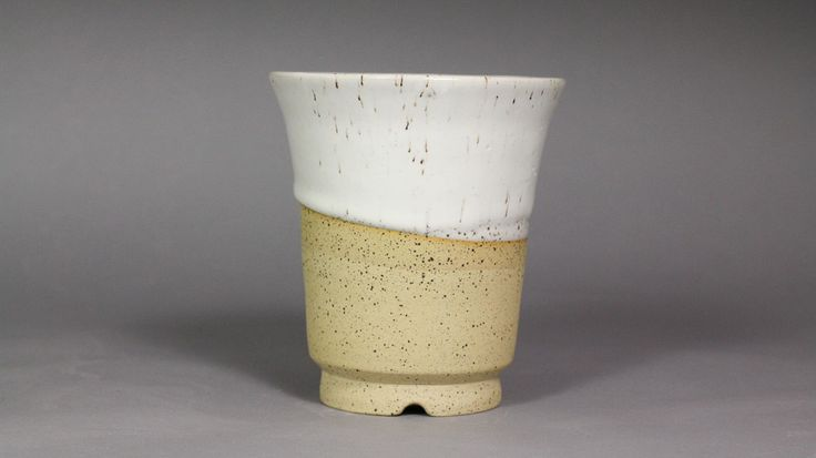 """Speckled Eggshell 5"""" Round Deep Orchid Pot by Ashley Keller"""