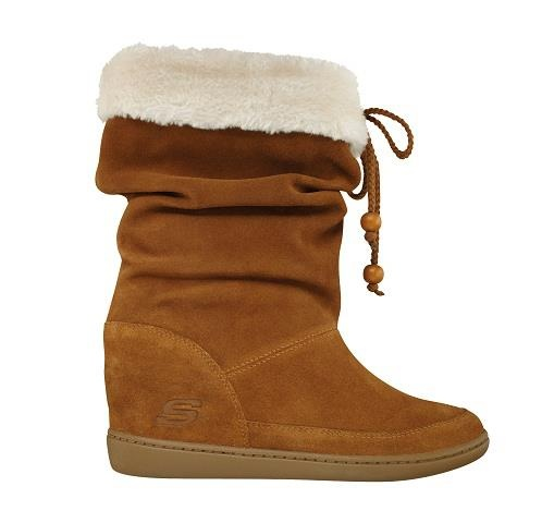"Bundle up in style: SKCH+3 Pyramids boots have a 3"" hidden wedge, and its soft suede and fur accents are perfect for winter. Now at SKECHERS stores and skechers.com."