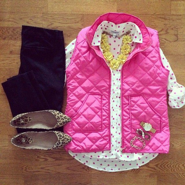 Pink Puffy Vest, Polka Dot Shirt, Yellow Flower Necklace, Leopard Flats | #workwear #officestyle #liketkit | http://www.liketk.it/ROc0 | IG: @whitecoatwardrobe