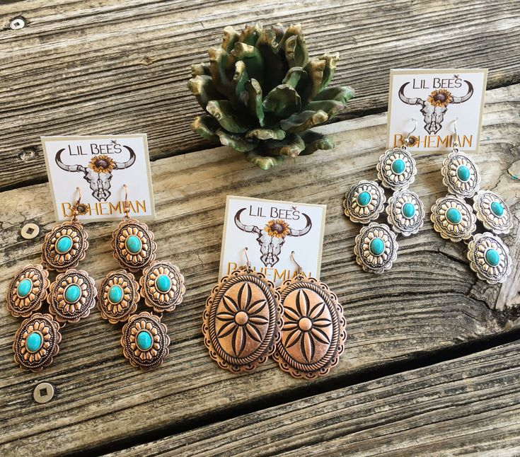 CONCHO PARTY?!?!? Love these NEW Concho Earrings we just got in ~ only $12…