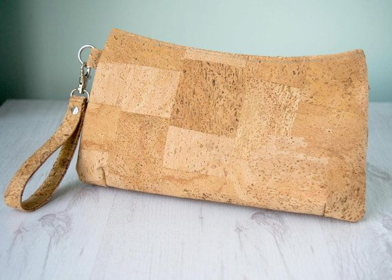Cork fabric clutch bag | Eco leather | cotton turquoise water lily lining | Large Coraline Clutch Bag | handmade in the UK