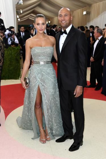 """Hannah Davis and Derek Jeter attend """"Manus x Machina: Fashion In An Age Of Technology"""" Costume Institute Gala at Metropolitan Museum of Art on May 2, 2016 in New York City."""