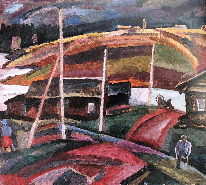 Андронов. Устье. пейзаж с инвалидом. 1963