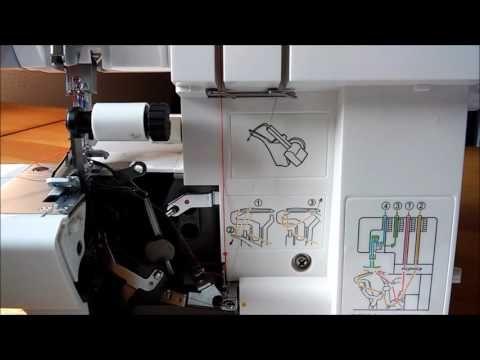 Singer 14SH754 lockmachine. Starten en 4 draads strechtsveiligheidsnaad. - YouTube