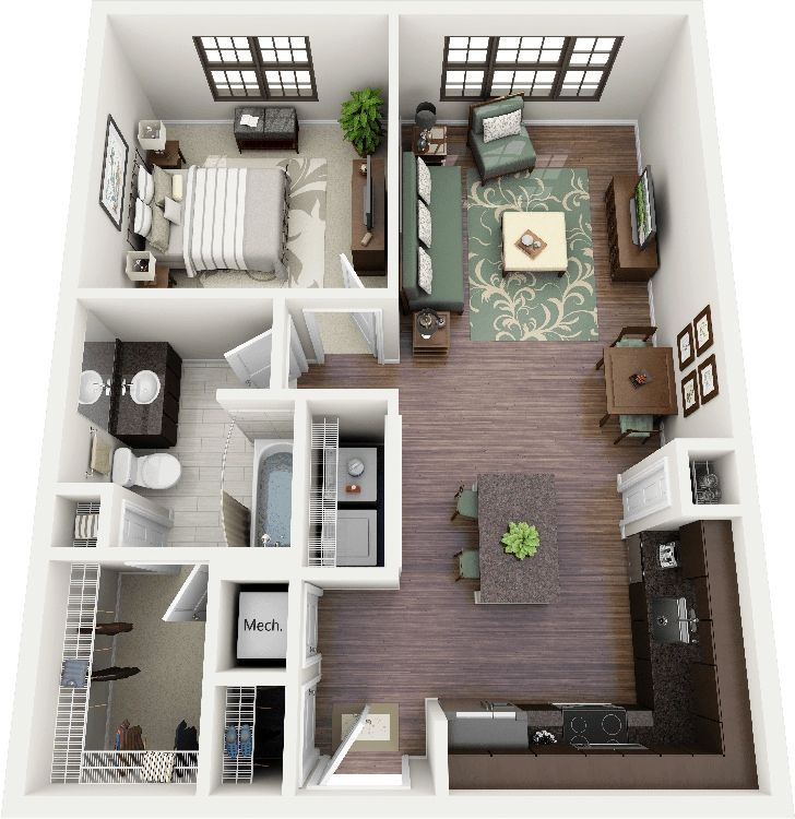 50 One 1 Bedroom Apartment/House Plans | Bedroom apartment, Small dining  and Apartments