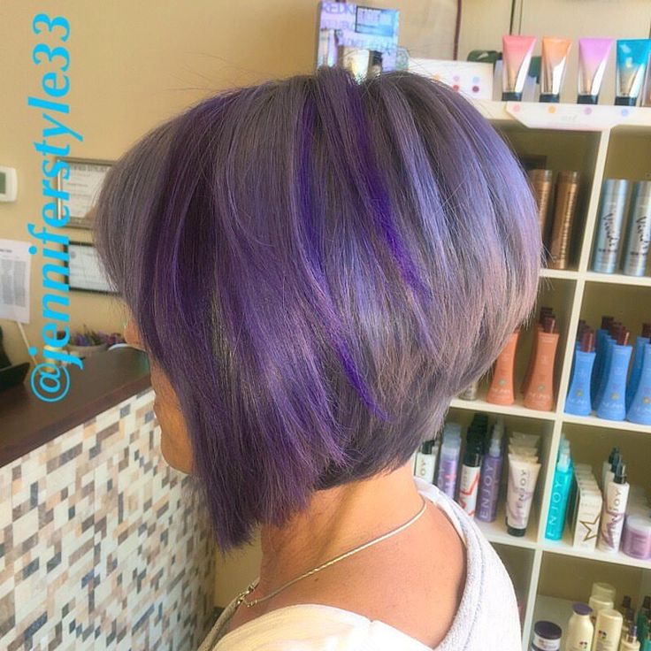 56 best hair images on pinterest hairstyle hair colour and plaits purple silver grey hair color highlights using chunky slices of color on a short bob a pmusecretfo Choice Image
