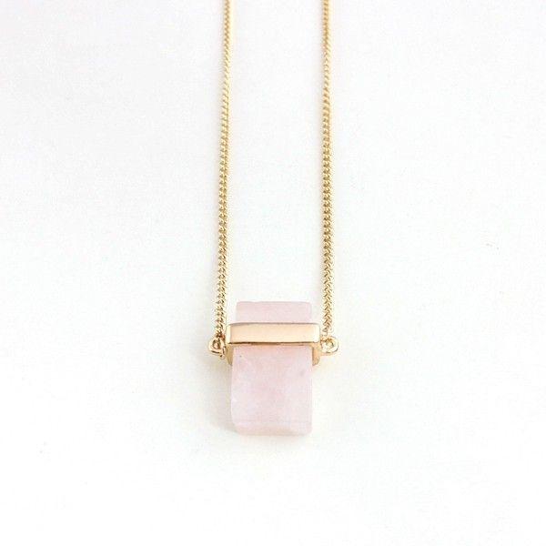 Natural Stone Quartz Pendant Necklace Long Necklace