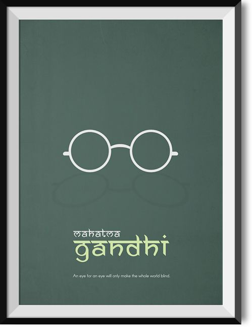 """Gandhi """"Eye for an eye"""" quote poster"""