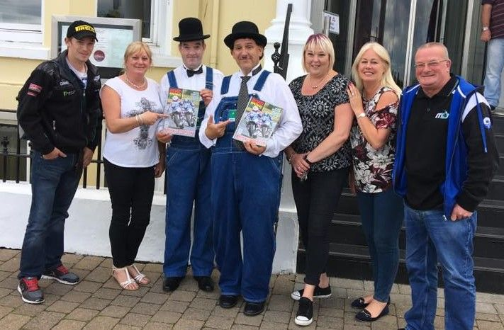 Laurel and Hardy Lookalikes posed for photos with Gillian Rollins and staff from Road Racing Ireland Magazine. Thanks to top photographer Wallace Rollins from Road Racing Ireland for taking the photos.