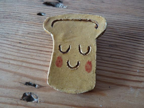 Ceramic Toast Brooch