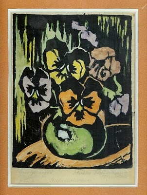 Linolschnitt Handdruck Getont Linocut Handpulled Colored A Recent Find And Addition This Hand Woodcut Print By Probably German Austrian