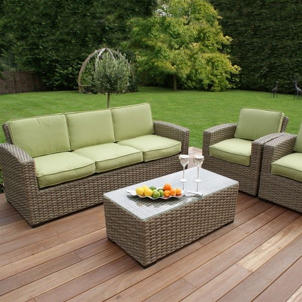 Maze Rattan Natural Milan Kingston 3 Seat Sofa Set