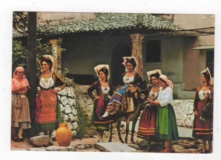 Corfu Local Costumes Greece Postcard