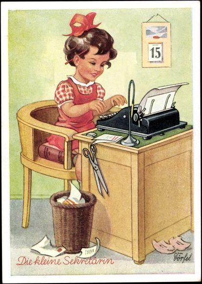 Künstler Ak Dörfel, Die kleine Sekretärin, Schreibmaschine, Papierkorb, Schere
