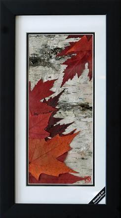 Maple Leaves on Birch Bark 8x16 in.