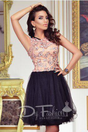 Rochie de Seara Eleganta Negru cu Roz Somon Black Pink Delice