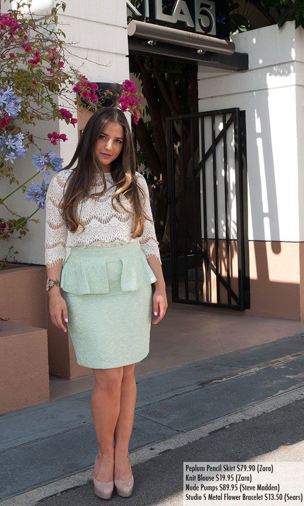 job outfit  tumblr | Peplum Skirt Outfit Tumblr