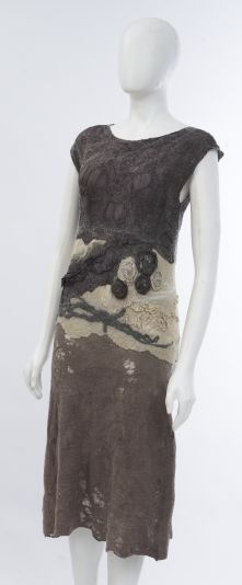 Nuno-felted dress, plant dyed