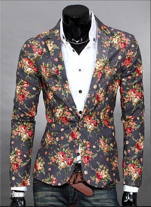 Blazers Men Male 2017 Blazers Fashion Slim Fit Red Navy Blue