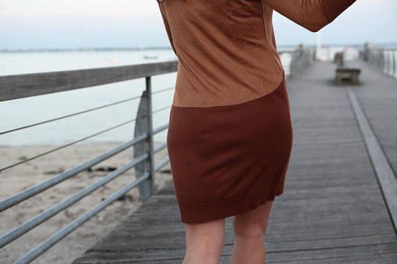 Robe pull bi-color marron et Camel / Taille 2 / Size 28 /