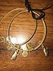 Alex and Ani Side by Side Otters Set of 2 Russian Gold Bangles w Cards and Box