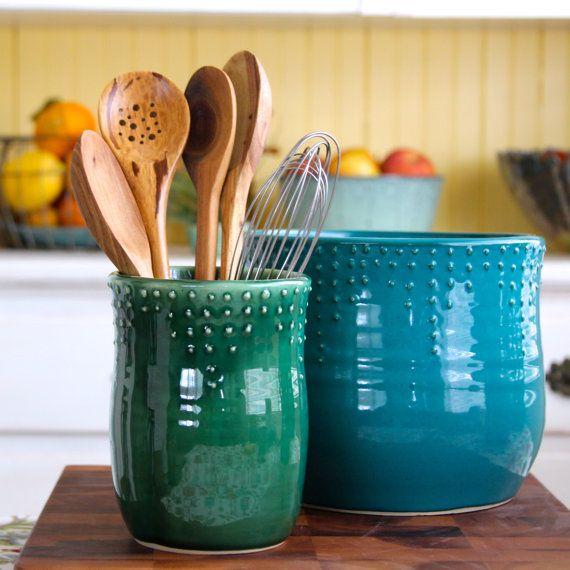 Kitchen Utensil Crock   Handmade Utensil Holder   Medium Size   16 Color  Choices   Hand Thrown Vase   Modern Home Decor   MADE TO ORDER