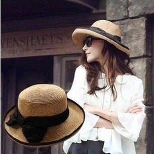 Wholesale 2014  Summer Women Anti-uv With Bow Decoration Strawhat Sunscreen Beach Sun Cap  Free Shipping  $15.35