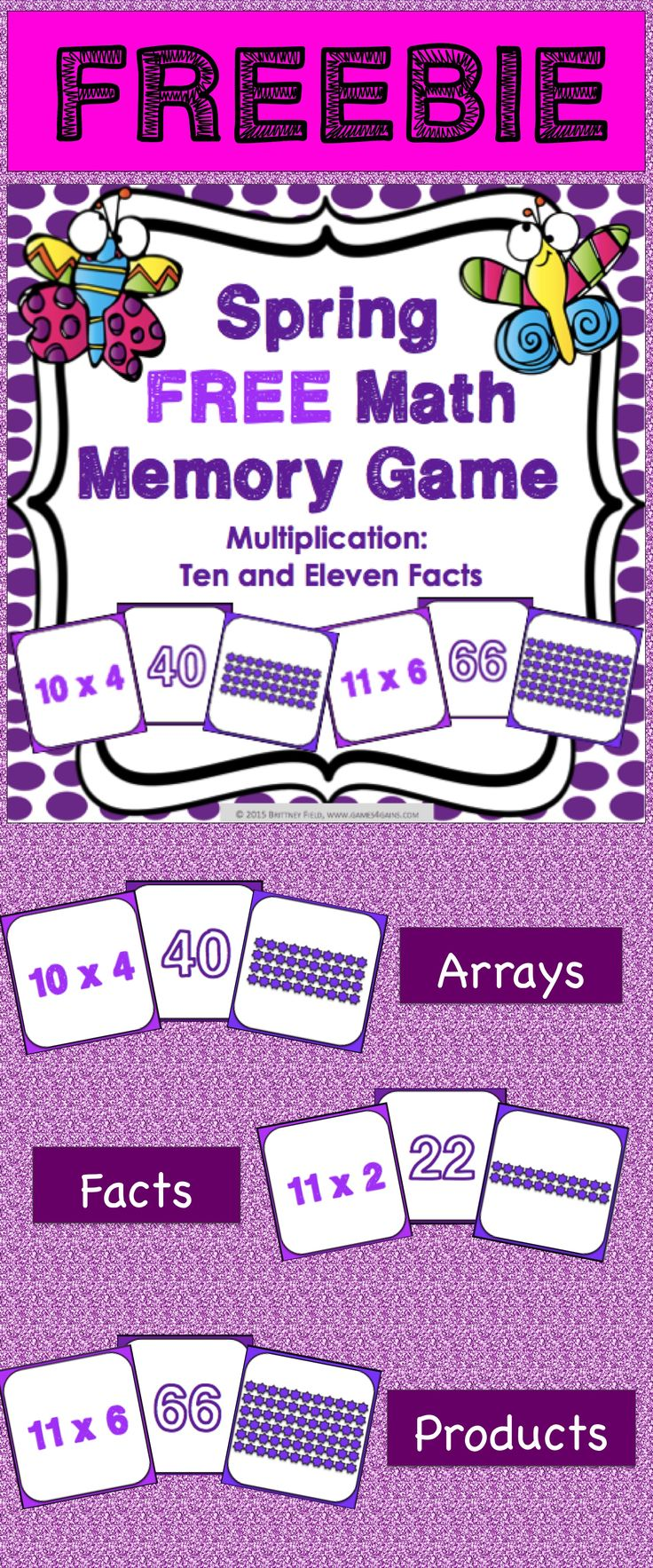 FREE Spring Math Game makes practicing ten and eleven multiplication facts fun! Included are 45 memory cards for students to match the multiplication array, multiplication fact, and product. This is a perfect activity for small groups and centers in March, April, and May!