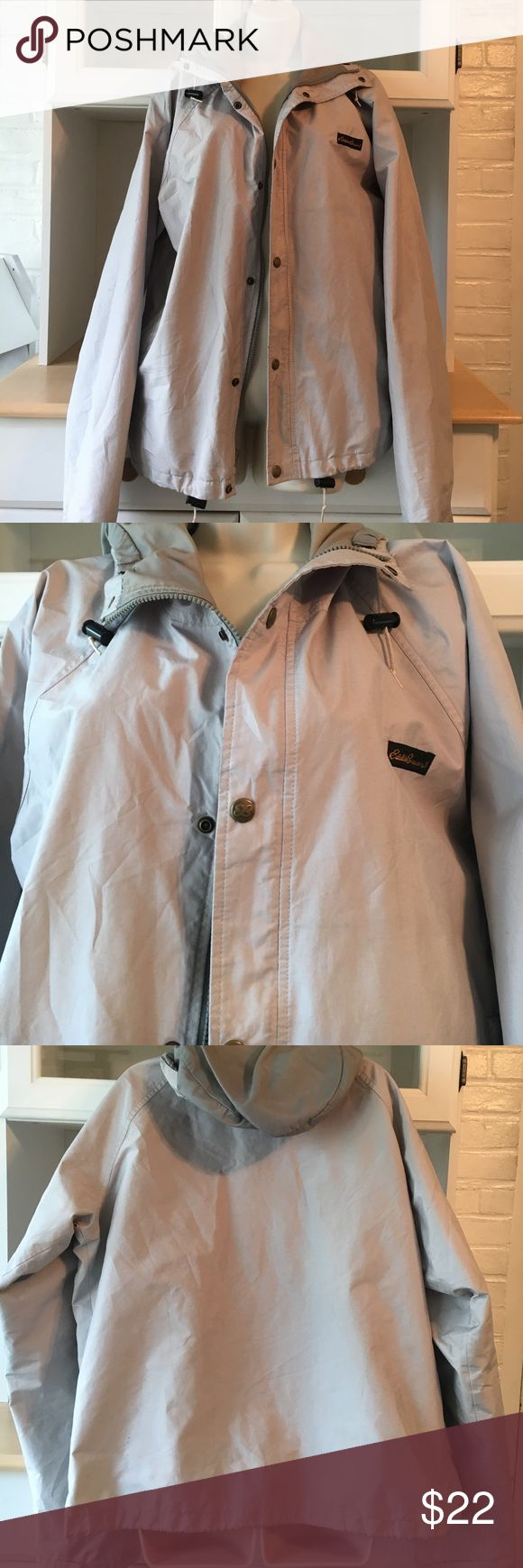 Eddie Bauer tan rain jacket Eddie Bauer, Expedition Outfitter, Rain jacket with hood. Two pockets on the outside, one on the inside. Machine washable, Gore.Tex fabric, great condition. Eddie Bauer Jackets & Coats Raincoats