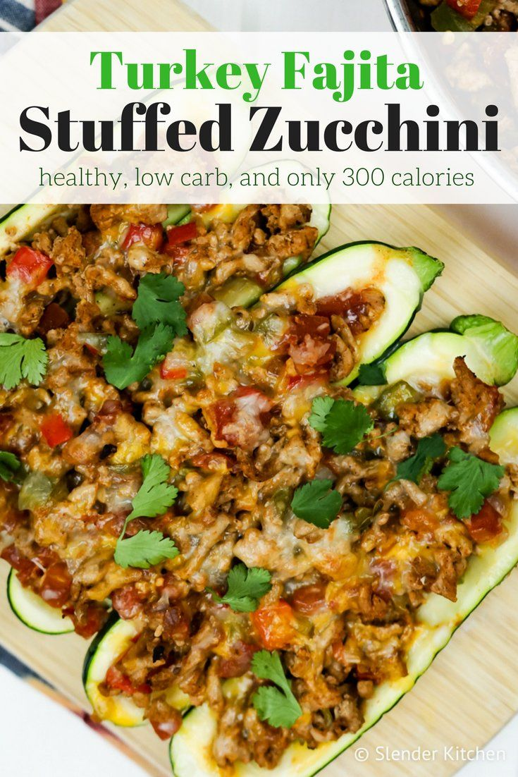 Turkey Fajita Stuffed Zucchini - Slender Kitchen. Works for Gluten Free, Low Carb and Weight Watchers® diets. 296 Calories.