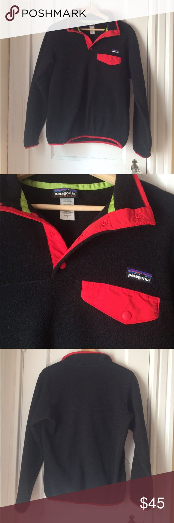 Patagonia Synchilla Snap-T Pullover Like new, black with red trim, size small Patagonia Sweaters