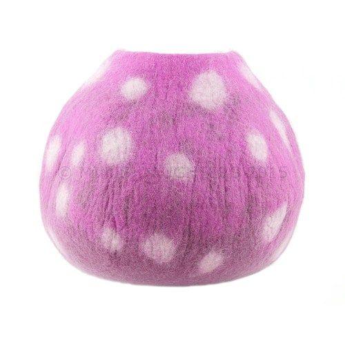 Cat Bed, Cat Cave, Pet Bed, Cat Igloo, Cat House Handmade Wool Felt Cat Home - Purple polka dot