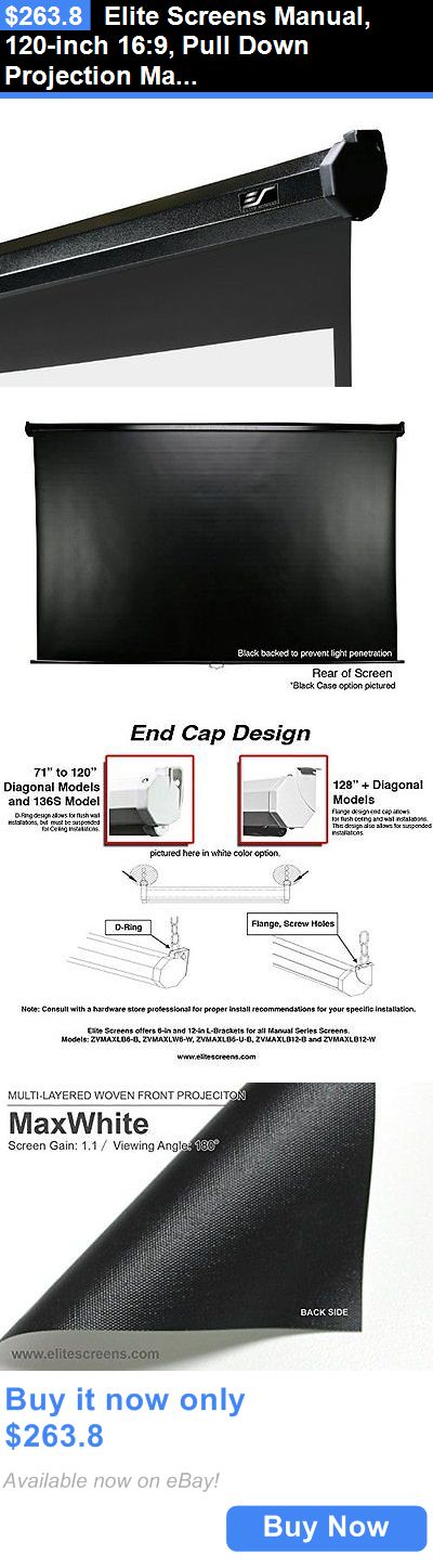 Projection Screens and Material: Elite Screens Manual, 120-Inch 16:9, Pull Down Projection Manual Projector With BUY IT NOW ONLY: $263.8