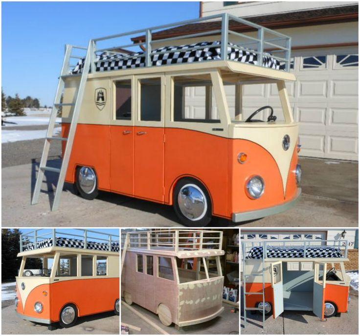 DIY Micro-Bus Bunk Bed and Playhouse