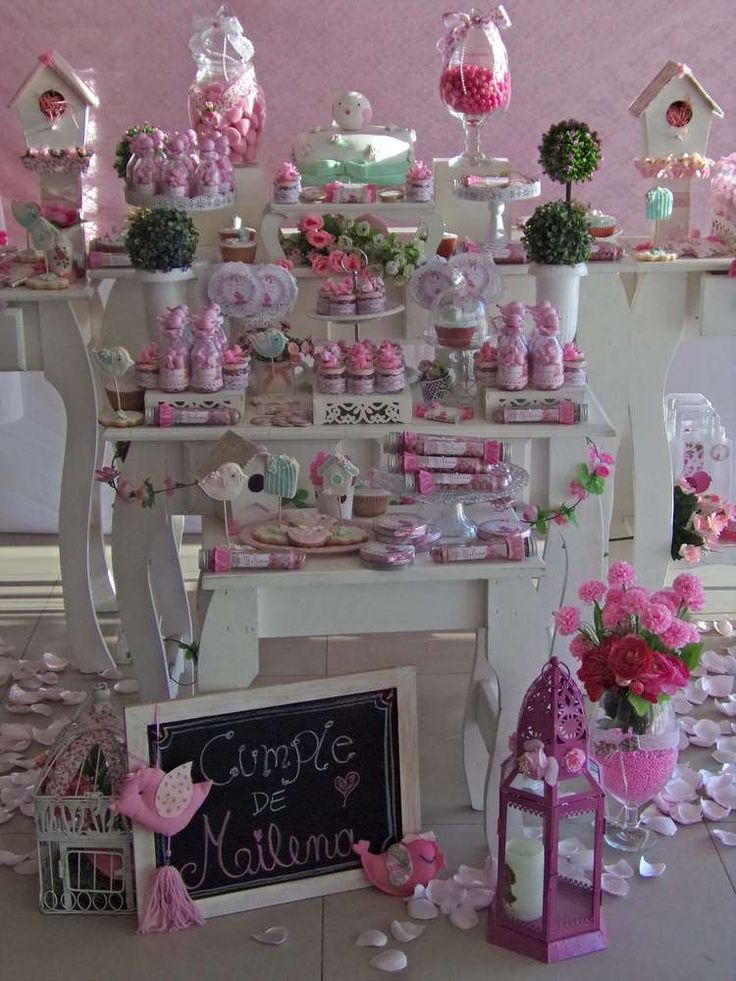 Shabby chic pink bird birthday party! See more party ideas at CatchMyParty.com!