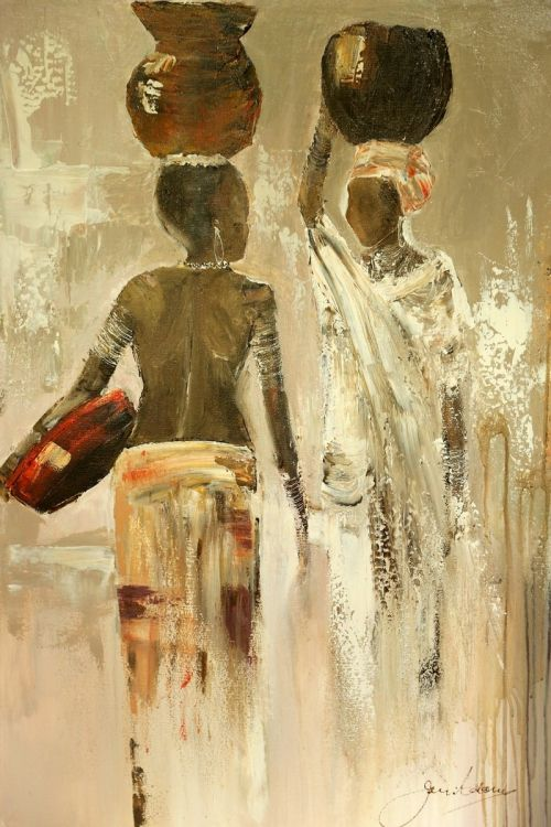 African Paintings Acrylic Painting - Meeting Half Way by Jen Adam                                                                                                                                                                                 Mais